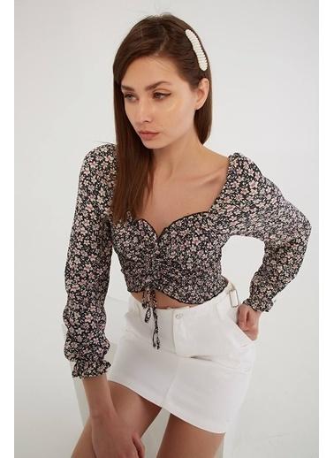 Modaset Büzgülü Çiçek Desenli Bluz  Gri